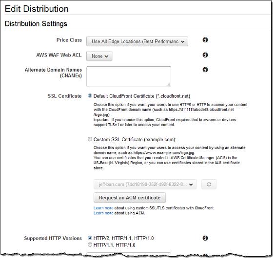 edit distribution configuration